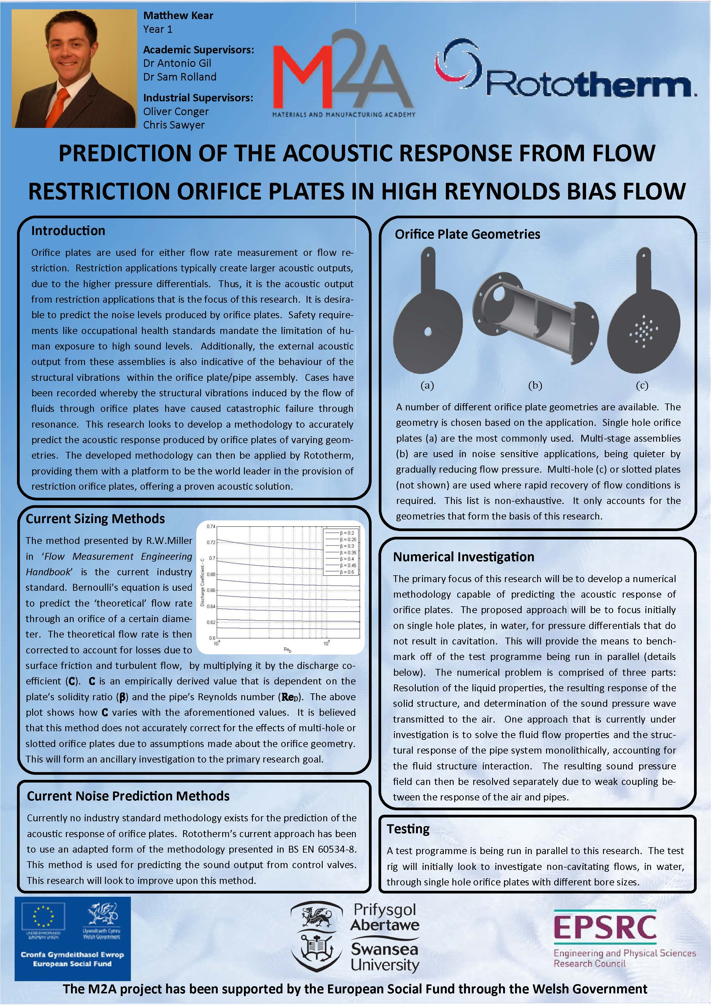 Prediction of the acoustic response from flow restriction orifice plates in high reynolds bias flow
