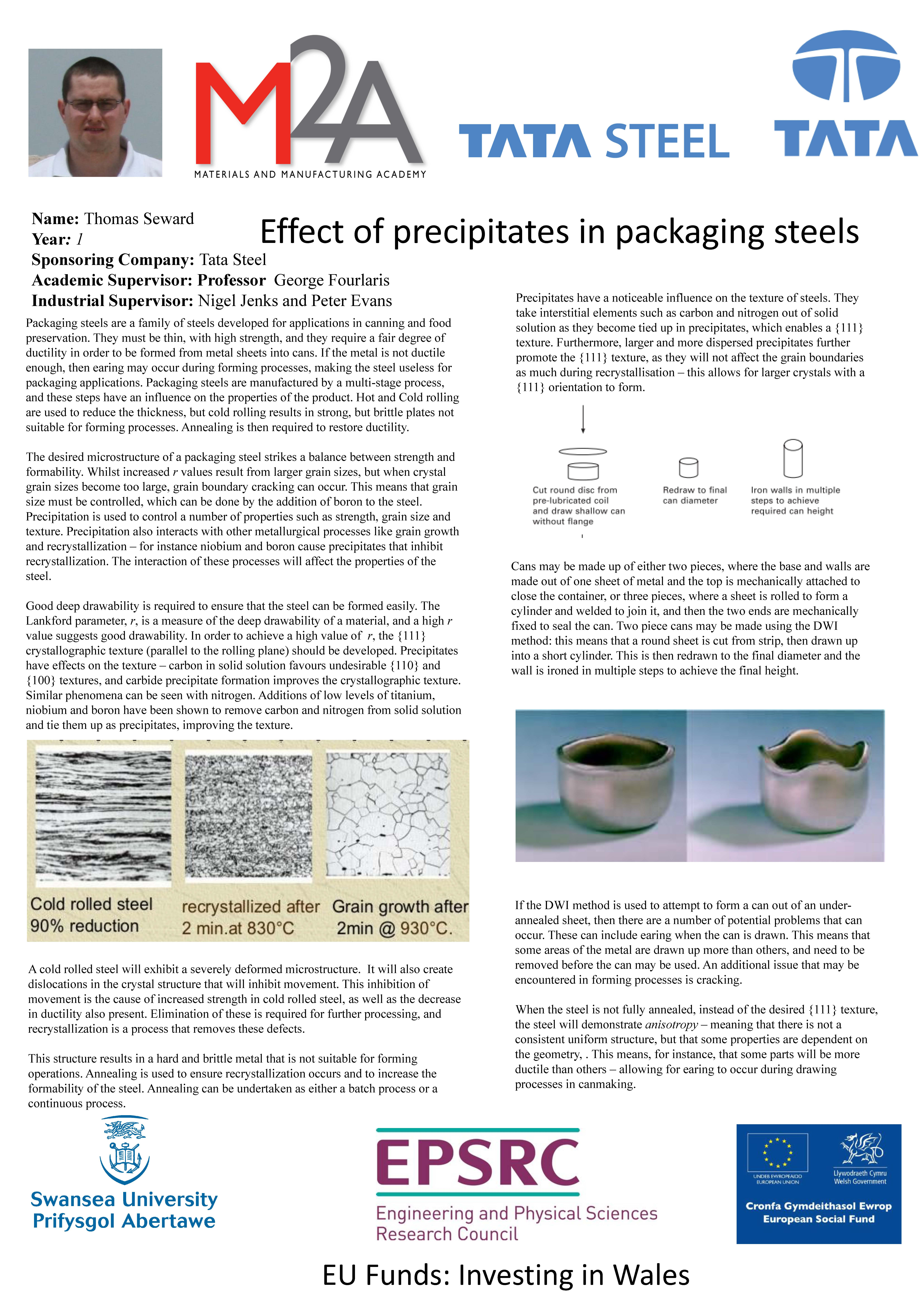 Effect of precipitates in packaging steels